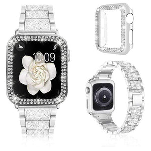 Watchbands Luxury iWatch Case And Strap Set- With Bling Diamond Shine white / 38mm - DiyosWorld