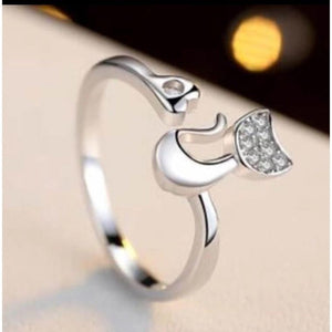 Wedding/Engagement/Fashion Ring Delicate Rose Gold Lovely Cat Shape Clear Crystal Inlaid Ring - DiyosWorld