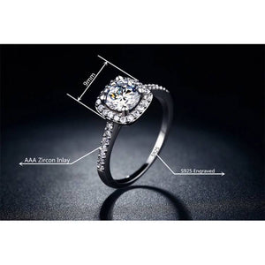 Wedding/Engagement/Fashion Ring S925 Silver Square Ring - Vintage AAA Zircon Inlay Diamond - DiyosWorld