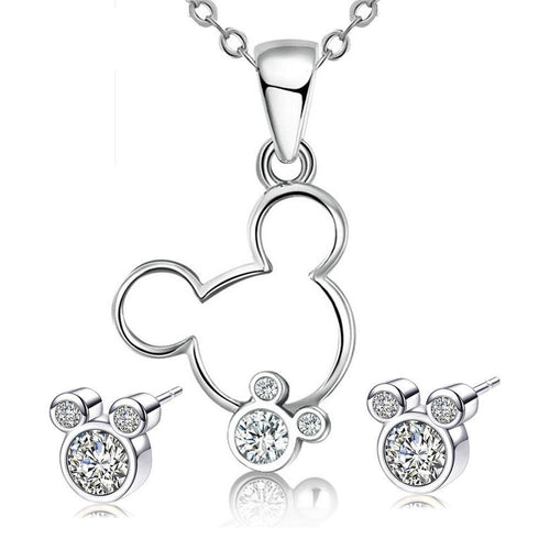 Platinum Plated Necklace White Crystals - DiyosWorld