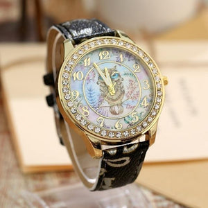 Women's Watches Super Cute Owl Design Watch Black - DiyosWorld