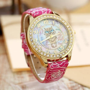 Women's Watches Super Cute Owl Design Watch Hot Pink - DiyosWorld