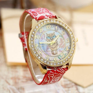 Women's Watches Super Cute Owl Design Watch Red - DiyosWorld