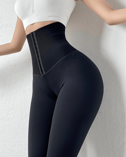 Yoga Pants Corset Belt High Waist Body Shaping Leggings Black / S - DiyosWorld