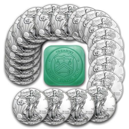 (QTY 20) U.S. MINT AMERICAN SILVER EAGLES <p> 1oz 0.9999% Fine Silver (2017)