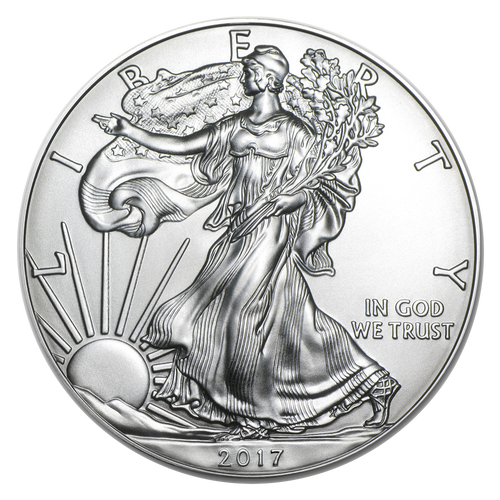 (QTY 1-19) U.S. MINT AMERICAN SILVER EAGLES <p> 1oz 0.9999% Fine Silver (2017)