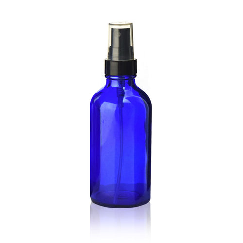 Cobalt Blue Boston Round 2 oz Glass Bottle with Black Fine Mist Sprayer