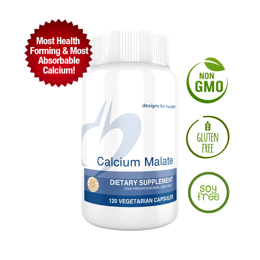 Designs for Health Calcium Malate Chelate + Vitamin D 500mg 120-Capsules (High Absorption / Non-GMO)