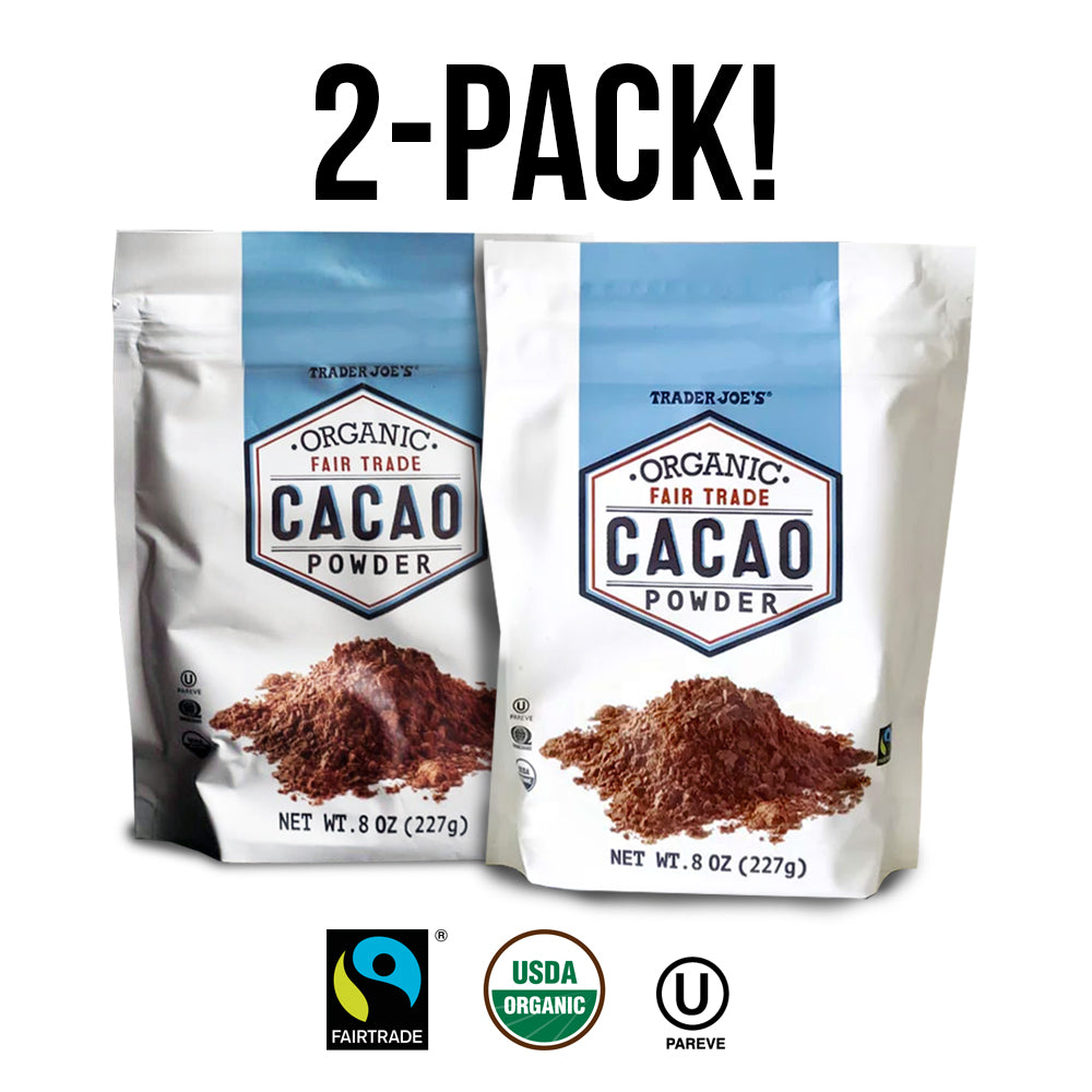 Certified Organic Fair Trade Cacao Powder 8oz. (2-PACK)