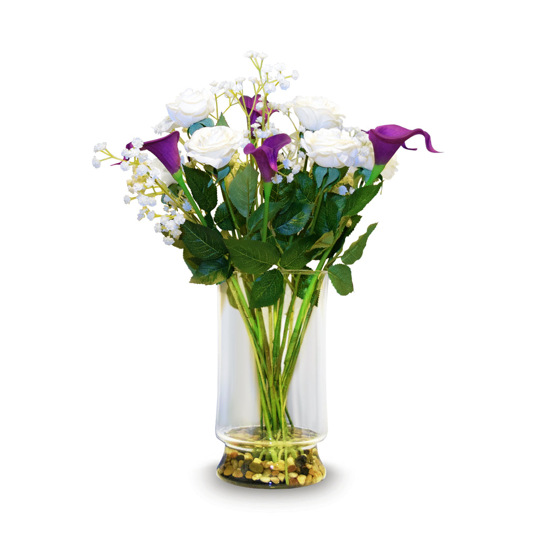 Art D'Fleurs Real Touch & Real Smell White Roses & Purple Calla Lily Arrangement 20