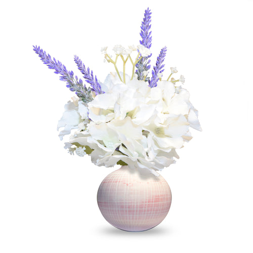 Art D'Fleurs Silk White Hydrangea Flowers with Lavender 10.5