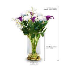 Art D'Fleurs Real Touch & Real Smell White Roses & Purple Calla Lily Arrangement 20""