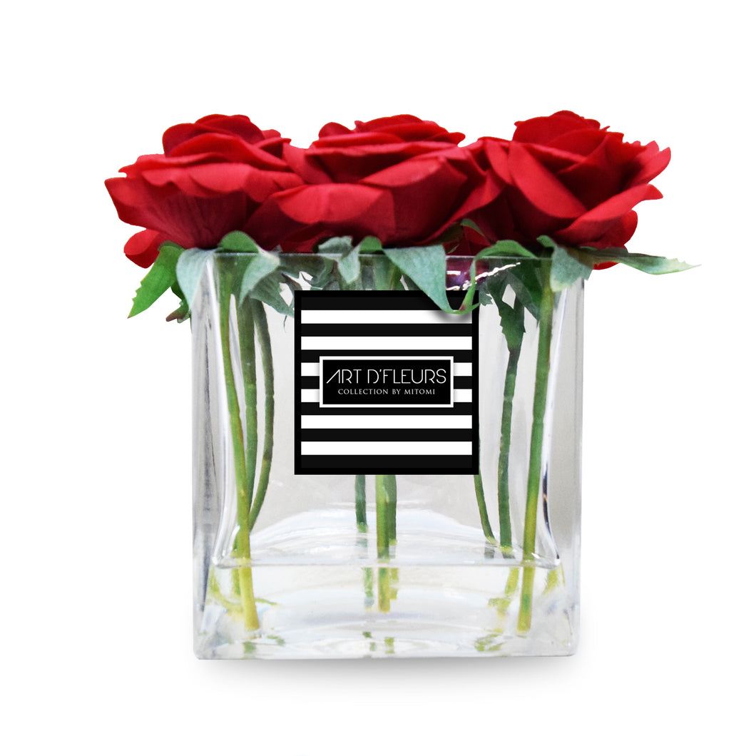 "Art D'Fleurs Real Touch, Real Smell ""Forever Enchanted"" Red Roses in Glass Cube Vase 7.5"