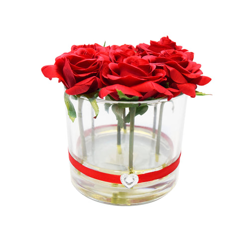 "Art D'Fleurs Real Touch, Real Smell ""Forever Enchanted"" Red Roses in Cylinder Vase – 6.5"" x 6"""