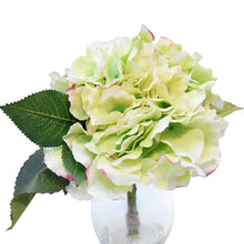 Art D'Fleurs Silk Green Hydrangea Bulb Standing in Glass Vase 9.5""