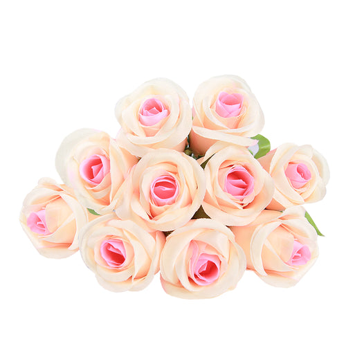Artificial Silk Flowers Long Stem Champagne Roses 21.5