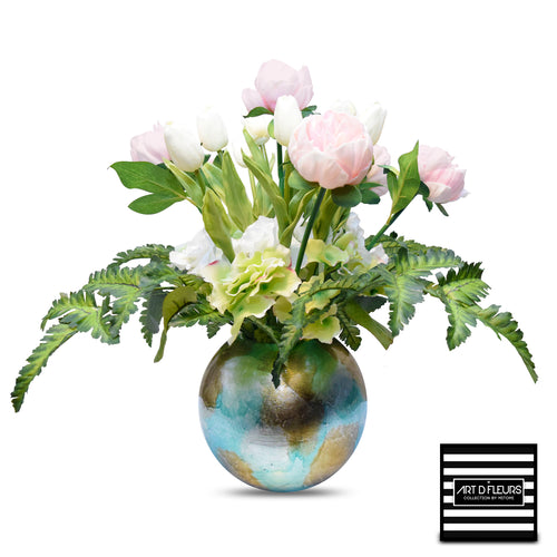 "Art D'Fleurs Real Touch Pink Peonies & White Tulips with Hydrangea & Fern in Heather Ann Vase 18""H - SALE!"