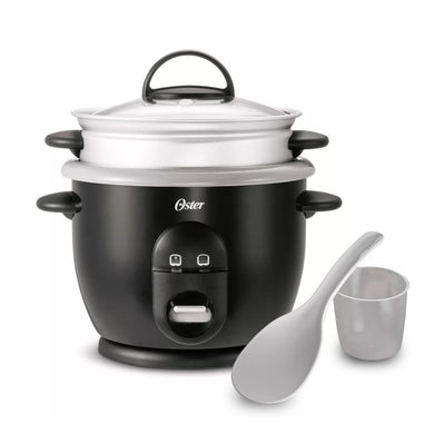 Oster Titanium Infused DuraCeramic 6-Cup Rice Cooker with Steam Tray Black