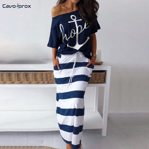 Hope Boat Anchor Print Short Sleeve Off Shoulder Top & Striped Ankle-Length Skirt <p> Casual Loose Women Two Piece Set