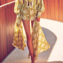 Vintage Printed V-Neck Lantern Sleeve High Waist Playsuits with Mid Skirt <p> Female Two Piece Sets