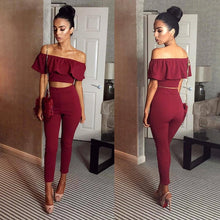 Elegant Tracksuit  <p>  Two-Piece Crop Top w/Pants
