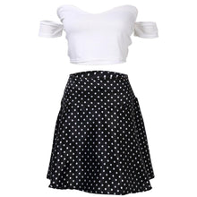 Summer Sexy Off shoulder Bodycon Short Crop Top+Dot Mini Skirt  <p> Casual Women's 2 Piece Set