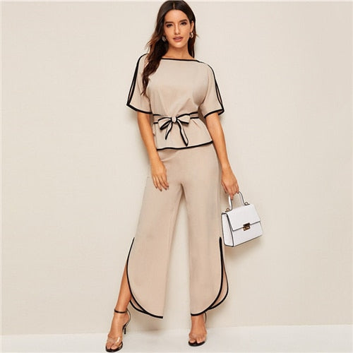 Elegant Split Sleeve Contrast Binding Blouse & Pants Set