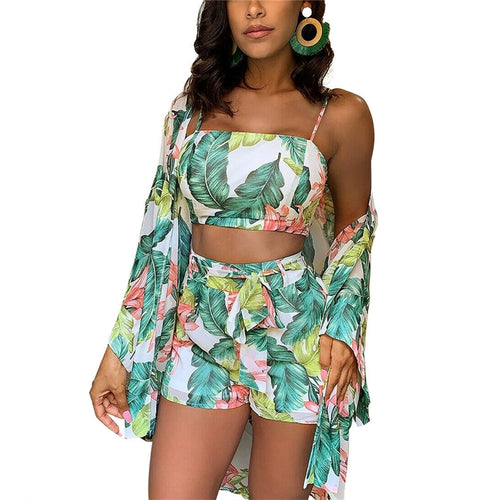 Summer Boho 3 Piece Floral Print <p> Cardigan Blouse + Crop Top + Shorts