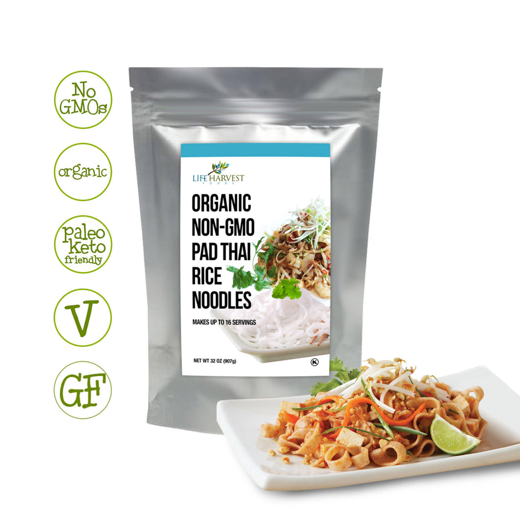 Organic Rice Noodles Non-GMO, Gluten-Free, Kosher (Long-Term Food Storage) 32oz (16 Servings)