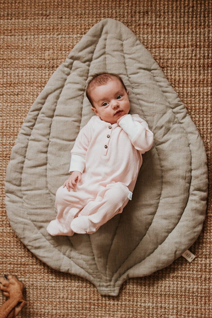GOTS organic cotton romper footed in blush