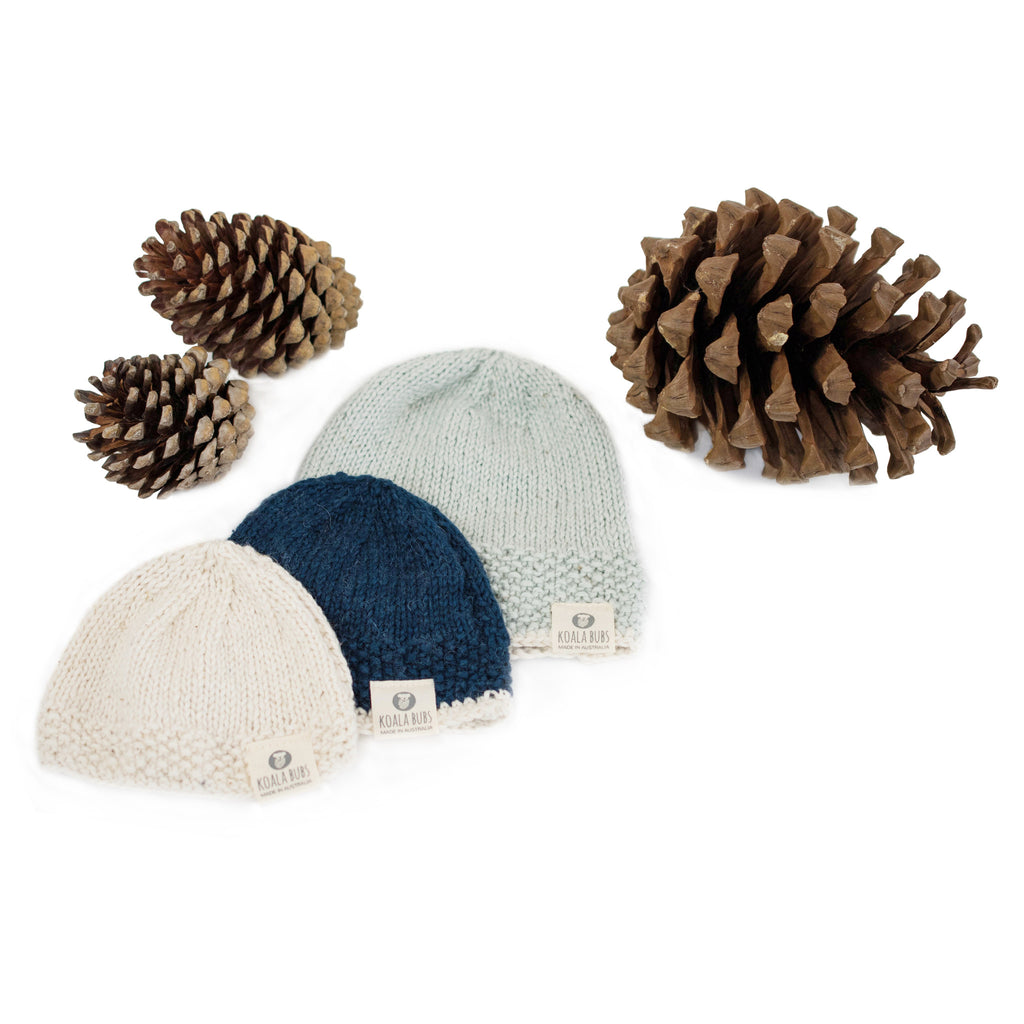 organic cotton and merino knitted newborn beanie