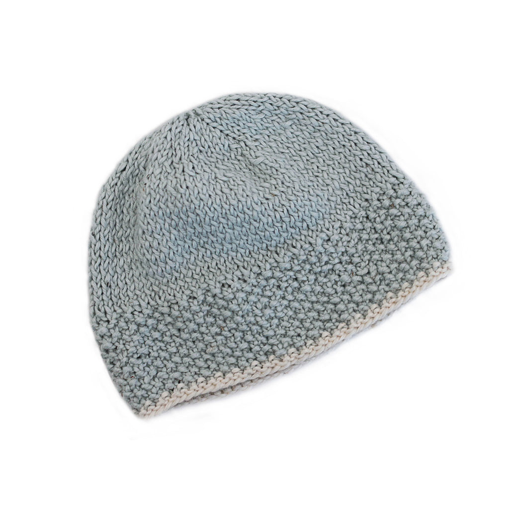 grey and white newborn baby beanie