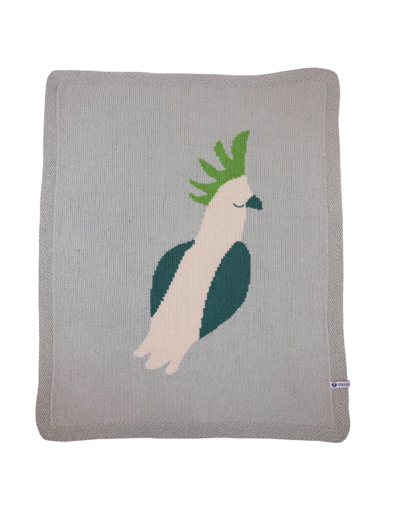 "Merino Baby Blanket ""Cockatoo Dreaming"""