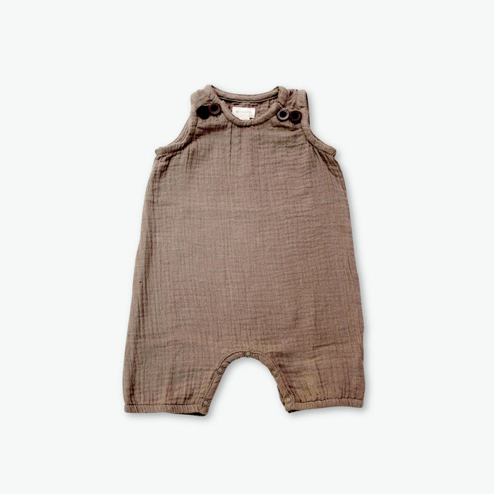 gots organic cotton boys muslin jumpsuit in olive