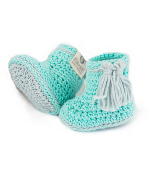 very cute newborn booties in aqua