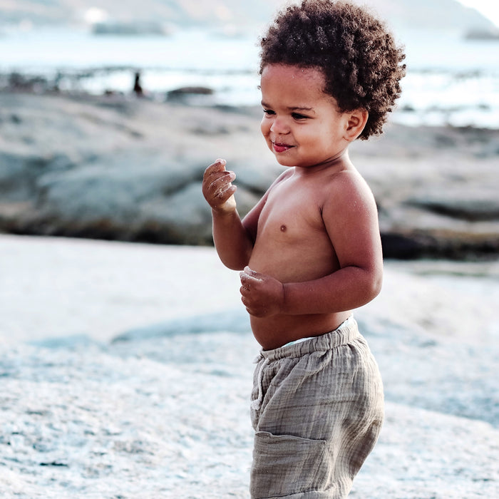 summer pants in organic muslin for kids