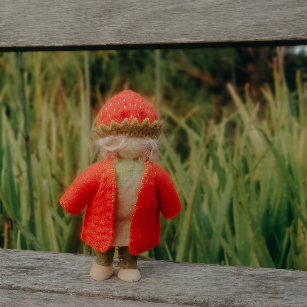 Strawberry gnome Waldorf toy