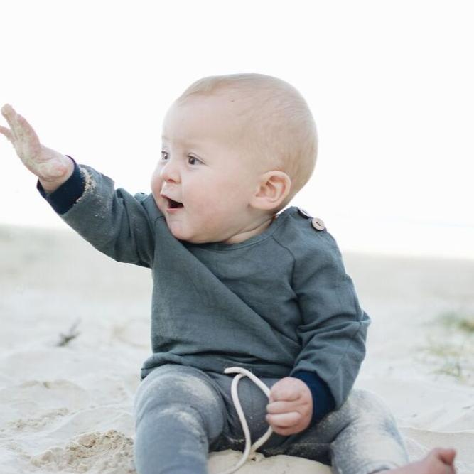 natural linen smocked top boys