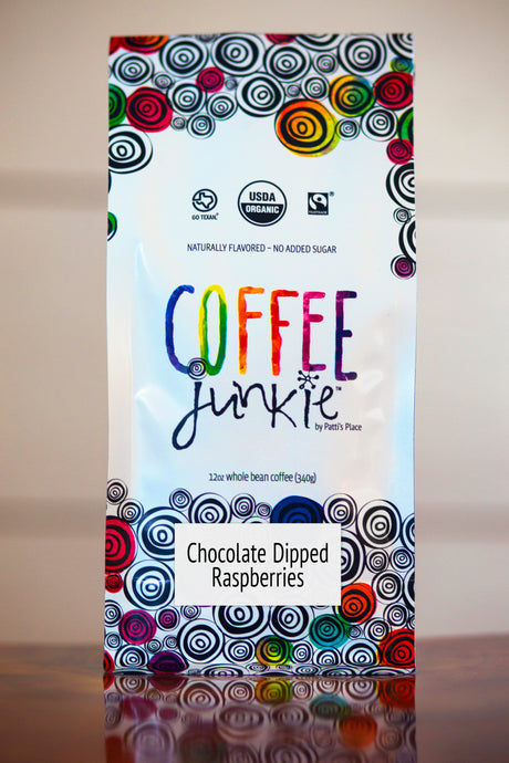 Chocolate Dipped Raspberries - Coffee Junkie Flavored Coffee - Organic, Fair Trade, Local