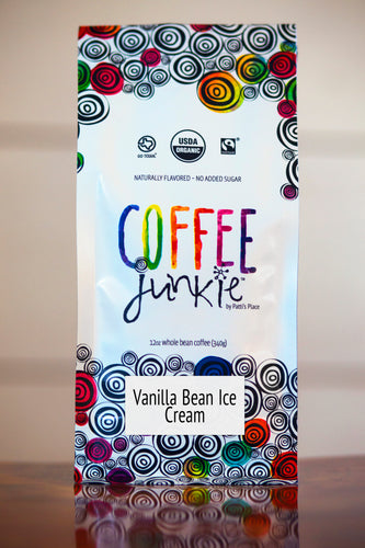 Vanilla Bean Ice Cream - Coffee Junkie Flavored Coffee- Organic, Fair Trade, Local