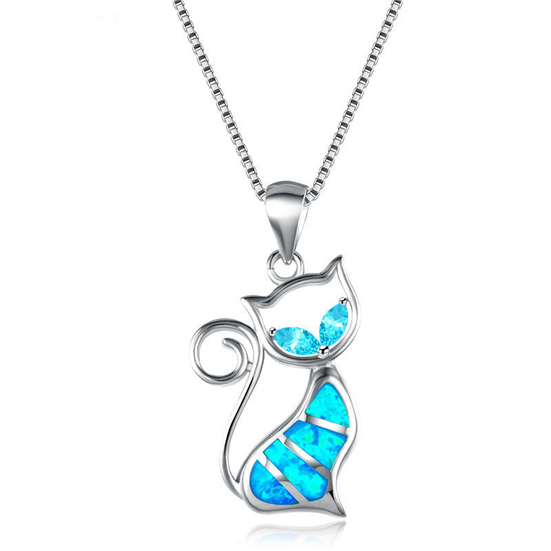 Cute cat blue fire opal pendants necklaces the kit clubs aloadofball Image collections