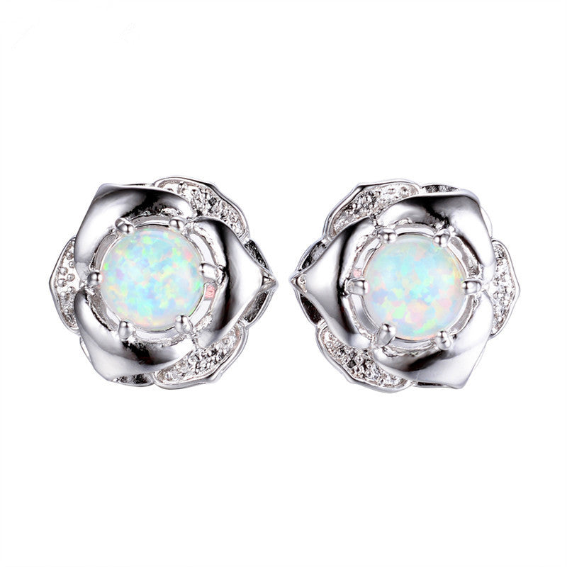 hypoallergenic fire domed stud earrings cabochon glass pin opal vintage posts