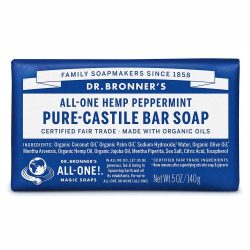 Dr Bronner's Pure-Castile Bar Soap Hemp Peppermint 140G - Econique