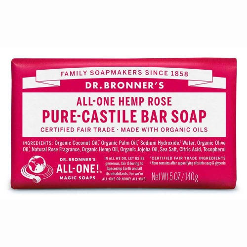 Dr Bronner's Pure-Castile Bar Soap Hemp Rose 140G - Econique