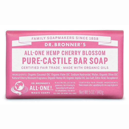 Dr Bronner's Pure-Castile Bar Soap Hemp Cherry Blossom 140G - Econique