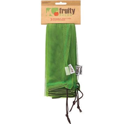 FRUITY SACKS Reusable fruit & veg shopping bags 3 Pack Large - Econique