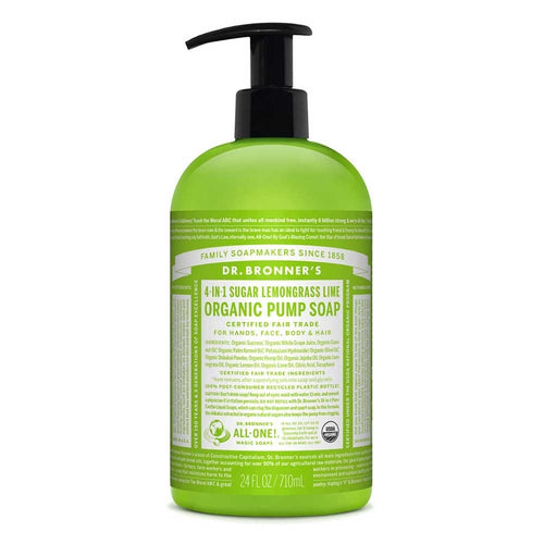 Dr Bronner's Organic Pump Soap Lemongrass Lime 710ml - Econique