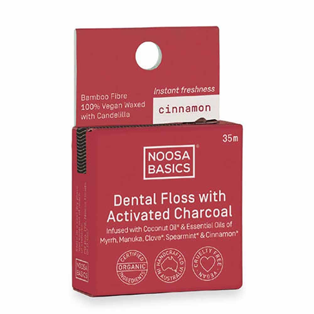 NOOSA BASICS Dental Floss with Activated Charcoal - Cinnamon - Econique