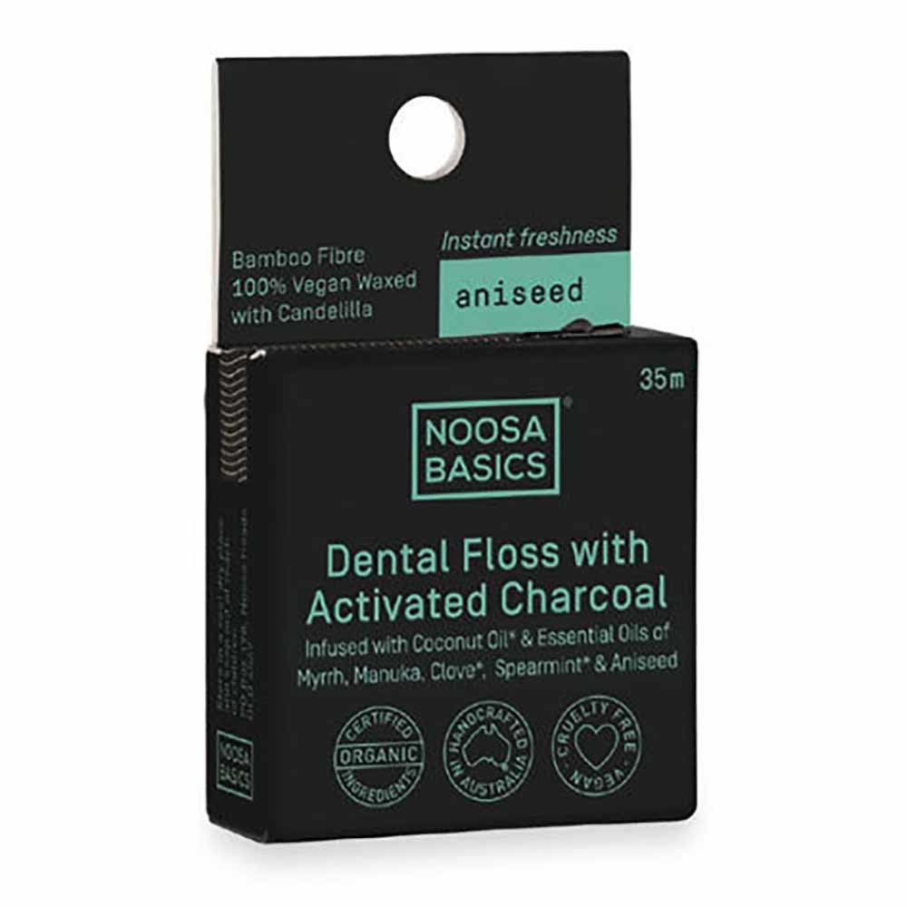 NOOSA BASICS Dental Floss with Activated Charcoal - Aniseed - Econique