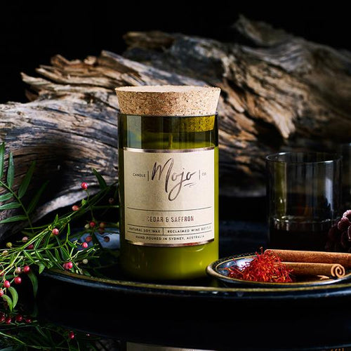 MOJO CANDLE CO Upcycled Wine Bottle Soy Wax Candle - Cedar & Saffron - Econique